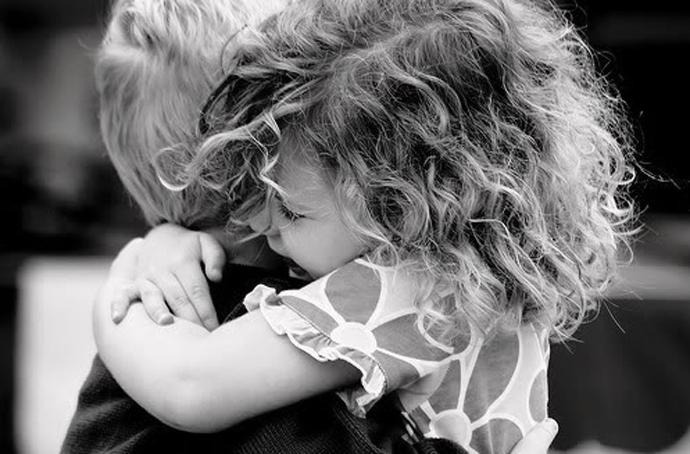 children friends-hugging1 b & w