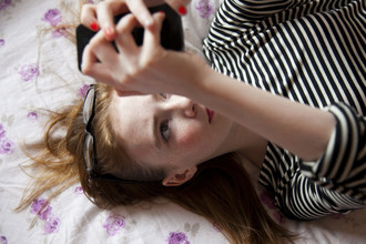 Teen girl texting and connecting